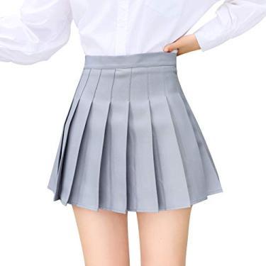 Saia feminina plissada xadrez de cintura alta Mini Skater Tennis School Skirt para líder de torcida com shorts, Cinza, M