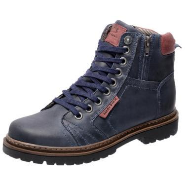 Bota Coturno em Couro Mega Boots 6016 Azul Marinho  masculino