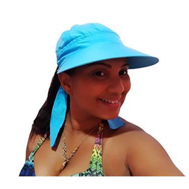 Chapéu Viseira Feminina de Praia Fechada Tactel Aba Grande Várias Cores (Azul Claro)