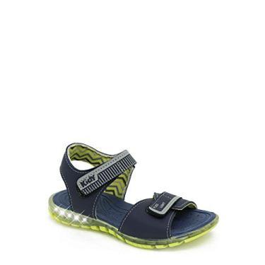 Sandália Infantil Com Luzinha Kidy 163-0082 Azul Marinho/Cinza/Amarelo