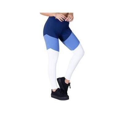 Imagem de Calça Legging Fitness Com Recortes Marinho Blue Boy e Branco Poliamida Ref 5011D