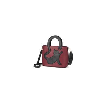 Imagem de Bolsa feminina para gato com padrão borboleta bolsa de ombro bolsa crossbody Bolsa de couro bolsa casual Vinho vermelho