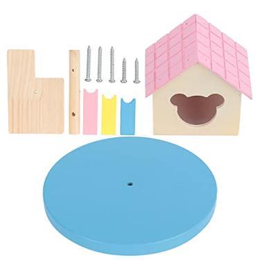 Imagem de Cabana de madeira, castelo de esconderijo para brincar de esconde-esconde (pó, azul)