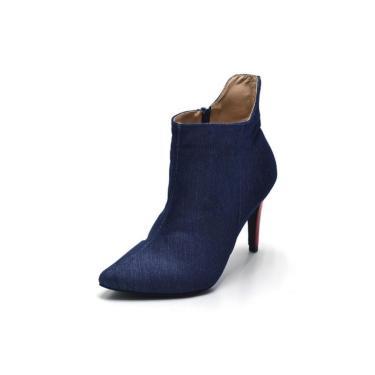 Bota Cano Curto Bico Fino Jeans Azul  feminino