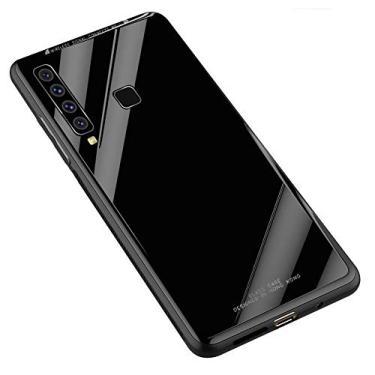 Kepuch Quartz Case Capas TPU &Voltar (Vidro Temperado) para Samsung Galaxy A9 2018 - Preto
