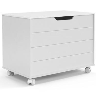 e1e5b63f0f Baú Organizador Infantil Toy com Rodízios Branco Soft - Matic