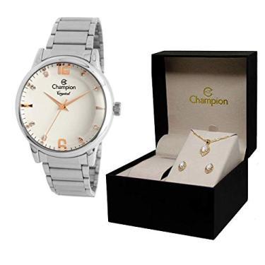 ba9c2b0043a Relógio Champion Crystal Cn25529y + Conjunto de Brincos e Colar