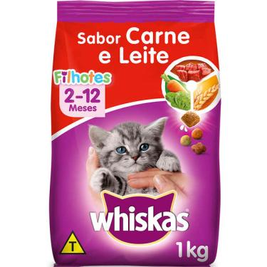 Ração Whiskas Carne e Leite para Gatos Filhotes - 1 Kg