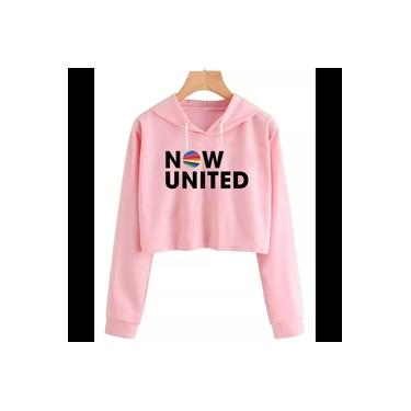 Cropped Moletom Feminino Blusão Canguru Now United Music
