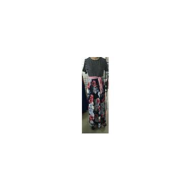 Vestido feminino casual 3/4 manga listrada patchwork floral estampado cinto tie slim