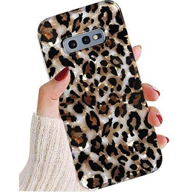 Capa J.west para Galaxy S10E 5,8 polegadas, capa protetora de TPU fina de silicone transparente translúcido com estampa de leopardo com design perolado macio de silicone para meninas e mulheres (Bling)