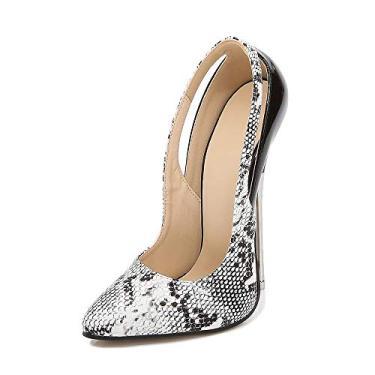 Imagem de LIURUIJIA Sapato feminino bico fino salto médio serpentino stilettos confortável sapatos vazados para festa, Branco, 7
