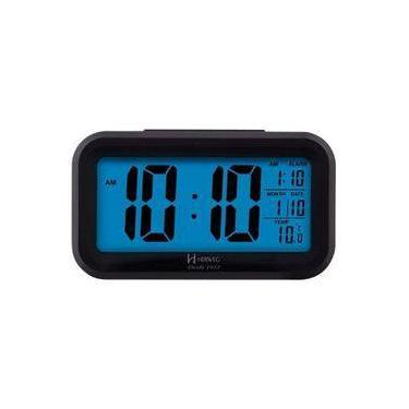 37b1e47b7d0 Despertador Digital Led Visor Azul Herweg Com Luz Noturna Termometro E  Calendario De Mesa Luxo