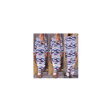 Vestido feminino maxi decote em v decote decote manga longa geométrica camisa vestidos longos plus size