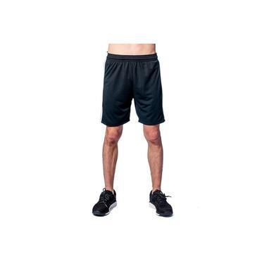 Calção Futebol Masculino 01 Preto listra lateral branca Moda Fitness
