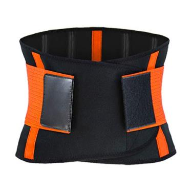 #N/a Trainer cintura Perda de Peso Da Cintura Trimmer Cinto de Emagrecimento Banda para Mulheres Dos Homens Ajustável Estômago Cinto Suor Exercício Parte - Laranja, S