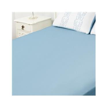 Imagem de  Lençol Tecebem Solteiro King Malha C/Elastico Liso Azul