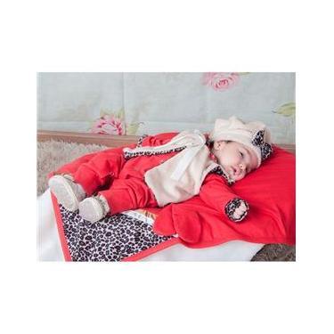 Saída De Maternidade Menina Oncinha Vermelha 05 Peças P