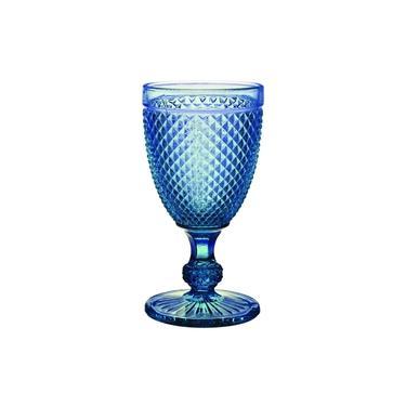 Cj De Tacas Para Vinho Bico De Jaca De Vidro Azul 6 Pcs Inca