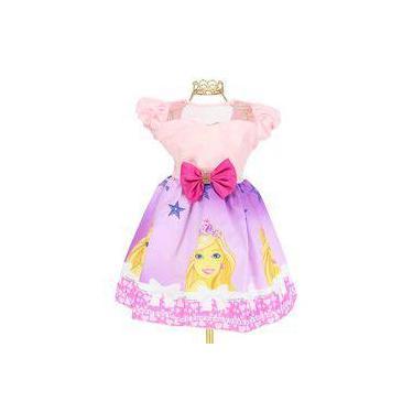 Imagem de Vestido Infantil Tema Barbie Coroa Delicado Laço- Jm11333