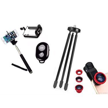 Kit Youtuber 5x1 - Mini Tripé + Bastão Selfie, Kit Lentes + Suporte Celular + Controle