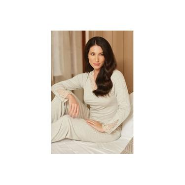 Pijama Trussardi Longo Modal com bordado Eugenia Lino bege G