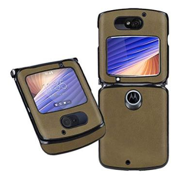 "MOONCASE Capa para Motorola Razr 5G, capa de telefone flip de couro de luxo slim fit à prova de choque capa protetora para Motorola Razr 5G 6,2"" - Verde"