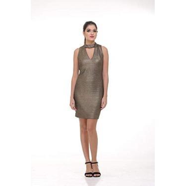 Imagem de Vestido Clara Arrusa Decote V 50350 - G - Dourado