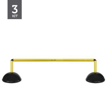 Kit Barreiras de Salto de Plástico - 20cm - 3 unidades - Preto/Amarelo - Muvin
