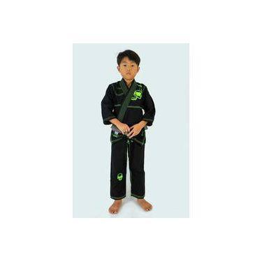 Kimono Jiu Jitsu Kvra Alfa Preto Infantil