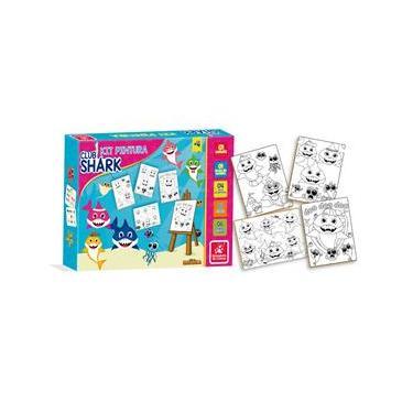 Imagem de Kit Pintura Para Colorir Infantil Mini Cavalete Club Shark - Brincadeira de criança