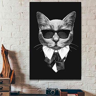 Kit Quadros Decorativos Gato de Terno preto óculos Máfia 1 60x90 cm Parede