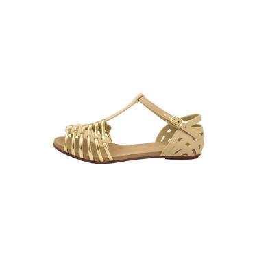 Sandália Casual Salto Rasteira Sedução 619 Areia Dourado  feminino
