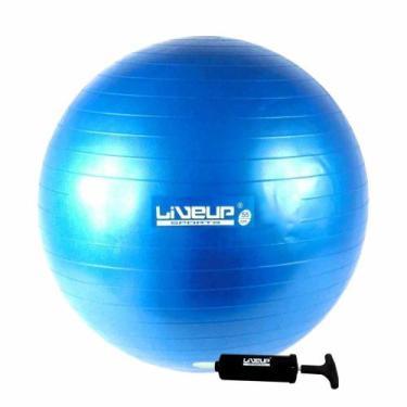 Bola Suica Premium 65 Cm C/ Bomba Liveup Yoga Pilates Fitness - Azul