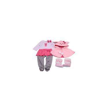Imagem de Roupa para Boneca Bebe Reborn completa Manto de coelho para bonecas 45 Cm Bebe Reborn Princesa de Inverno