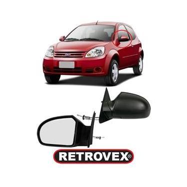 Retrovisor Externo Ford Ka 2009/2013 - Com Controle Manual - Com Espelho - (Lado Esquerdo Motorista)
