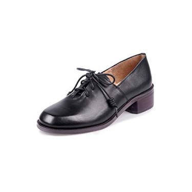 TinaCus Sapato feminino de couro genuíno feito à mão bico redondo confortável salto baixo grosso elegante sapato Oxford urbano, Preto, 4