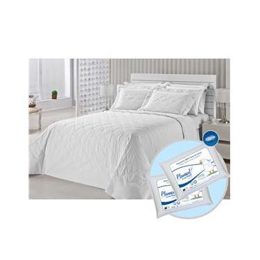 Imagem de Colcha Matelassê Queen com 2 Fronhas Royal Comfort 233 Fios + Jogo de cama Queen Classic 233 Fios + 2 Travesseiros Penas de Ganso - Plumasul - Branco