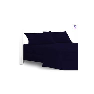 Imagem de kit 10 lençol casal avulso 01 peça microfibra lisa cor azul marinho