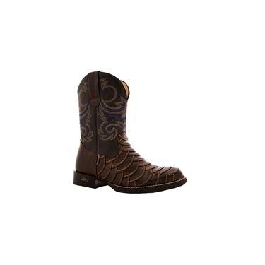 Bota Cano Alto Escamada Tropeiro Boots Couro Marrom