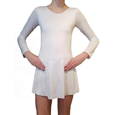 Vestido de patinação no gelo para meninas, Branco, 14