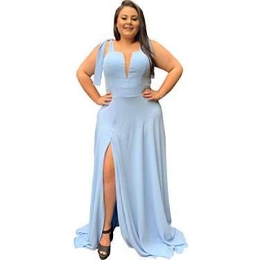 Vestido de Madrinha de Casamento Civil Plus Size Elegante Com Decote e Fenda Lateral (Azul Serenity, GG)