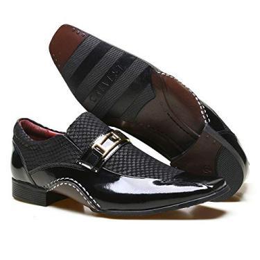 Sapato Social Masculino Calvest em Couro Snake Preto com Detalhes Verniz - 1930C411-44
