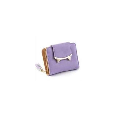 Couro Gato bonito com trºs dobras de Slim Mini Carteira Mulheres pequeno carto Coin Clutch Holder (roxo)