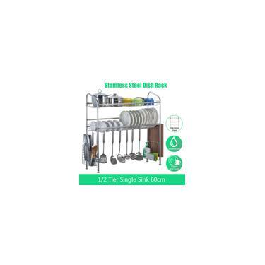 Imagem de Escorredor de pratos de 1/2 camada com suporte de pauzinho de aço inoxidável sobre o dissipador Tigela Organizador de prateleira