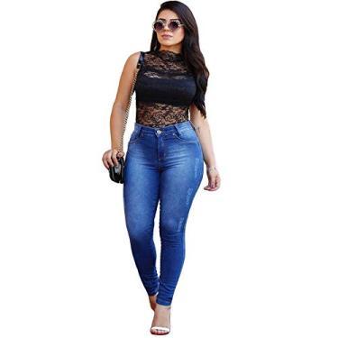 Calça Feminina Jeans Cintura Alta Cós Alto Levanta Bumbum (Azul, 38)