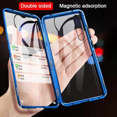 Capa de telefone para iphone x xr xs 6 6s 7 8 plus 11 12 mini se pro max 2020 360 magnética dupla