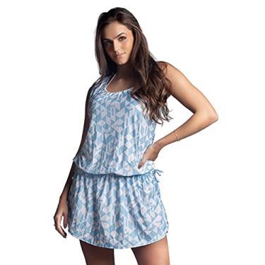 Saída De Praia Vestido Cordão de Ajuste na Cintura Tamanho:G;Cor:Azul;Gênero:Feminino