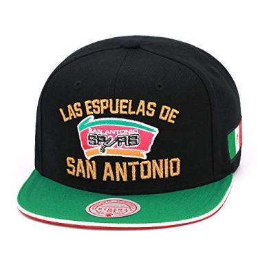 Imagem de Mitchell & Ness Boné San Antonio Spurs Snapback, Preto, verde, dourado, vermelho, tamanho �nico