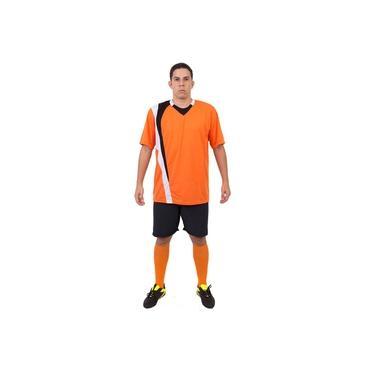 Imagem de Uniforme Esportivo Completo modelo PSG 14+1 (14 camisas Laranja/Preto/Branco + 14 calções Madrid Preto + 14 pares de meiões Laranja + 1 conjunto de goleiro) +